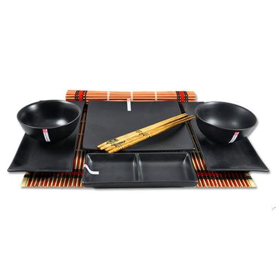 Duży czarny zestaw do sushi