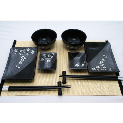 Grafitowo- czarny zestaw do sushi