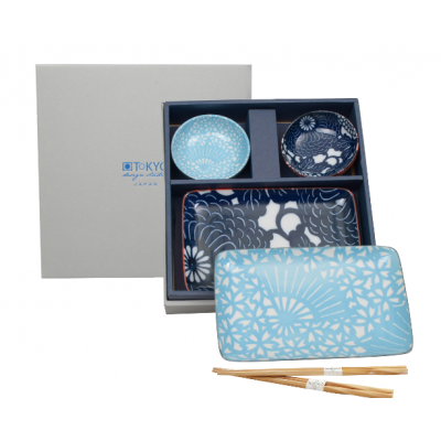 Japoński porcelanowy zestaw do sushi