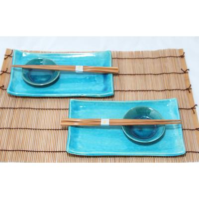 Błękitny 2 osobowy zestaw do sushi