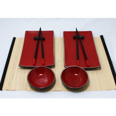 Orientalny czerwony zestaw do sushi dla 2 osób