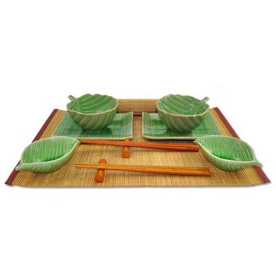 Zestaw do sushi z motywem liścia