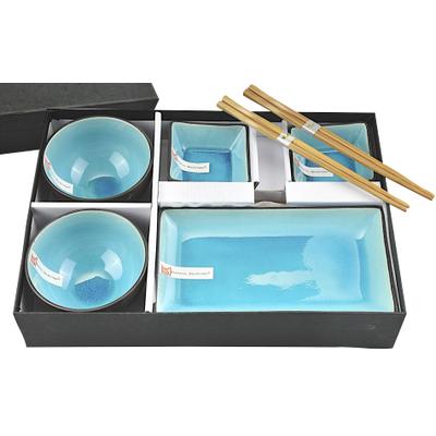 Błękitny orientalny zestaw do sushi
